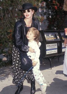 Priscilla Presley and son, Navarone Garibaldi in 1990