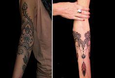 Mandala Blume am Armgelenk links und Ketten mit Federn rechts