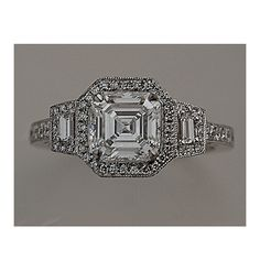 Here we have a dazzling Replica Asscher Cut Art Deco Diamond Engagement Ring 1.31 Ct