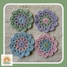 These pretty crochet coasters are perfect to add to your tea party table. A lovely home decor item. Tea Party Table, Glass Coasters, Home Decor Items, Crochet Flowers, Crochet Earrings, My Etsy Shop, Colours, Squares, Pattern