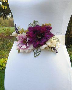 Purple Flower Wedding Dress Sash Belt Purple Plum by SorellaSashes