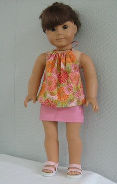 halter top and skirt for American Girl Doll 18 inch  by LaniesCreations