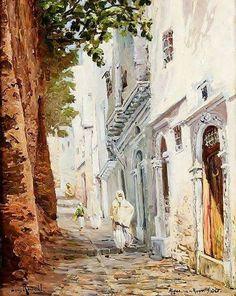 Louis RANDAVEL (1869-1947)  Casbah d'Alger, la rue du Rempart Huile sur toile