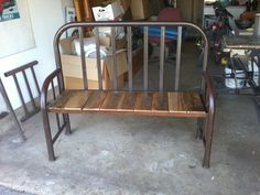 Repurposed twin bed frame into a bench