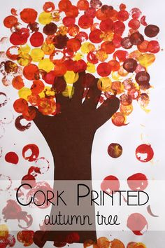 Simple Autumn Tree Art for Preschoolers is part of Cork crafts Preschool - Use simple art techniques to create a beautifully printed autumn tree A great art activity for fall for preschoolers or toddlers Autumn Eyfs Activities, Nursery Activities, Art Activities, Harvest Crafts For Kids, Fall Crafts For Kids, Art For Kids, Fall Preschool, Preschool Crafts, Toddler Crafts