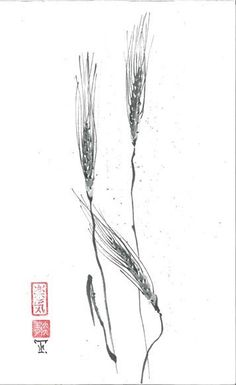 Original Art Three spikelets of wheat   in Japanese by ZenPresent