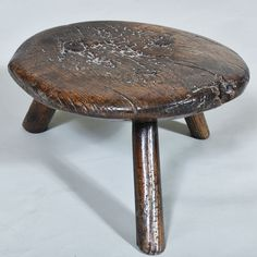 "Wonderful Primitive/Folk Art Low Stool - c.1800 Diam: 11"" / 28 cm Height: 6.5"" / 17 cm"
