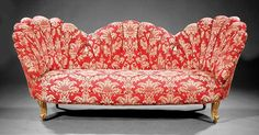 An American Carved Giltwood Parlor Suite, late c., comprising a settee and a pair of armchairs, each having scal. on Feb 2014 Settee, Armchair, Vintage Sofa, Love Seat, Auction, Carving, Couch, Elegant, American