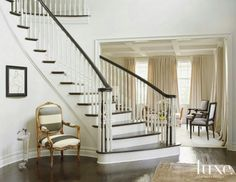 Staircase and drapes