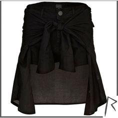 River Island Black Rihanna tied shirt denim shorts ($18) ❤ liked on Polyvore featuring shorts, skirts, bottoms, accessories, sale, black shorts, black denim shorts, river island, summer shorts and zipper shorts
