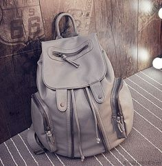 Fashion Soft Leather Motorcycle Zipper Beam Port Backpack