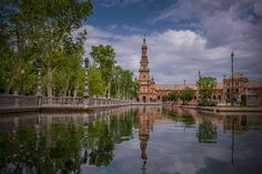 Tower reflection - Part of the Plaza de España in Seville.I hope you like