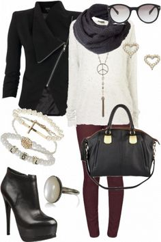 wrapped up cosy for fall #style #fashion #outfit... LOVE THE PEACE SIGN NECKLACE:):):)