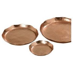 Organise out-the-door essentials on your hallway console or jewellery on your dresser with these textured plates, finished in copper. Arrange alongside weathered wood and exposed brick walls for a welcoming look with industrial appeal.Product:  Small, medium and large plate Construction Material: AluminiumColour: CopperFeatures: Hammered finishDimensions:  Small: 2 cm H x 15 cm Diameter  Medium: 3 cm H x 24 cm Diameter  Large: 3 cm H x 31 cm Diameter