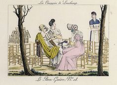 A young woman servant tidying away chairs, as some bored ladies chat to her. Le bone genre.