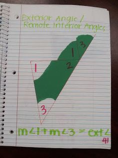 Math by Tori: Triangles Unit: Interior Angle Sum and Exterior Angle (Remote Interior Angles) Teaching Geometry, Geometry Activities, Teaching Math, Math Activities, Teaching Ideas, Math Teacher, Math Classroom, Future Classroom, Teacher Stuff