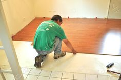 Installing laminate floor over ceramic tile @Marla Hawkinson Flooring  great solution instead of ripping it out