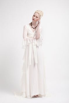 Kelsey Genna FLORENCE Wedding Gown.  Flowy silk chiffon with three-quarter length sleeves. $1000