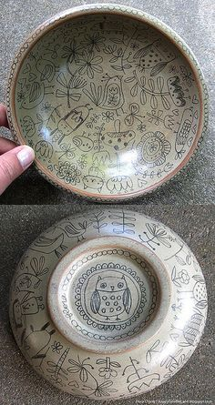 Wooden Doodle Bowl - Flora Chang - Happy Doodle Land  [We can try this in our boring white plates with a sharpie and then putting them in the oven]