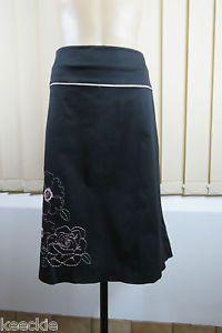 Plus Size 2XL 18 Jacqui E Ladies Black Skirt Casual Stretch Resort Floral Design | eBay