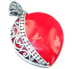 $41.55 Deep+Love+Red+Fossilized+Coral+Sterling+Silver+handmade+pendant at www.SilverRushStyle.com #pendant #handmade #jewelry #silver #coral