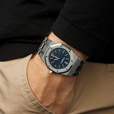 This is a pre-owned Audemars Piguet Royal Oak Boutique Jumbo Ultra Thin Men's case size in Stainless Steel with Blue Baton di. Audemars Piguet Watches, Audemars Piguet Royal Oak, Stylish Watches, Luxury Watches For Men, Men's Watches, Dream Watches, Gucci Men, Burberry Men, Hermes Men