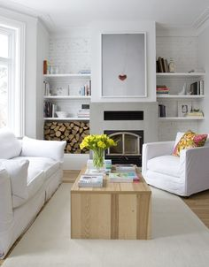 june 2010 Maude Arsenault and Eric Tessier painted the exposed brick in their Montreal home the same colour as the walls to give the room a seamless look, while floating white shelves allow selected objects to stand out Room, Room Design, Interior, White Cottage, Home, Living Room White, Living Room Diy, Living Room Wood, Home And Living