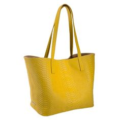 Yellow Leather Teddie Tote Bag