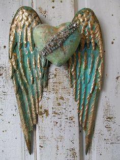 Metal angel wings distressed aqua blue gold w/ embellished rhinestone heart shabby cottage chic wall hanging home decor anita spero design