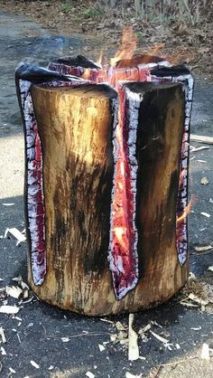 Swedish fire log - burns for hours and it looks beautiful.      / @kimludcom