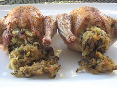 Cornish hens and wild rice stuffing. Used the wild rice stuffing recipe, and used different instructions as to how to cook the bird. I like the stuffing a lot, but it wasn't my husband's favorite. I substituted homemade cream soup to make gluten-free, so it needed more salt.