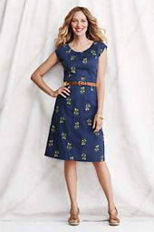 Women's Cap Sleeve Embroidered Dress, LandsEnd.com $98.00