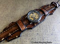 Leather Wrist Watch Steampunk Men's watch by CuckooNestArtStudio,