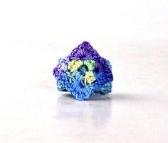 Crochet Ring Fiber Ring Crochet Granny Square Ring Light Blue, Mint ... www.etsy.com