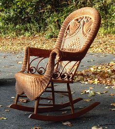 Antique Victorian Bell Style Wicker Porch Rocker C1880 Old Trunk