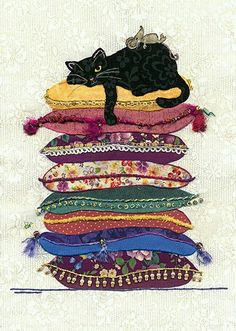Black Cat Card by Jane Crowther. One of many cards for cat lovers. Bug Art at Tattypuss. Cool Cats, I Love Cats, Crazy Cats, Gatos Cool, Image Chat, Bug Art, Cat Cushion, Cat Quilt, Cats And Kittens