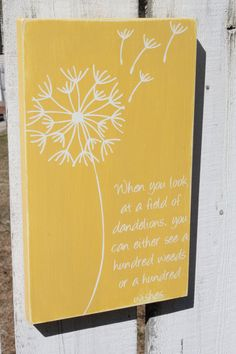 Dandelion 100 Wishes Sign by LilyBug428 on Etsy, $18.00