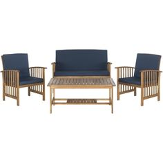 Shop for Safavieh Outerbanks Teak Brown / Navy 4-Piece Outdoor Set. Get free delivery at Overstock.com - Your Online Garden