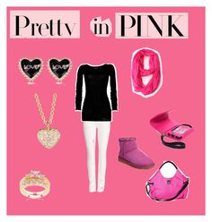 pretty in pink in the winter by tayler-sheppherd on Polyvore featuring polyvore fashion style GUESS Citizens of Humanity UGG Australia Victoria's Secret River Island Finn Kate Spade clothing