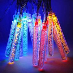 3.5M 20LED Solar Meteor Shower Outdoor Rain Tube Lamp String Fairy Light Decor #Unbranded