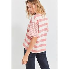 BDG Boston Oversized Striped Ringer Tee ($29) ❤ liked on Polyvore featuring tops, t-shirts, crew neck tee, cotton t shirts, crewneck tee, boxy tees and cotton crew neck t shirts
