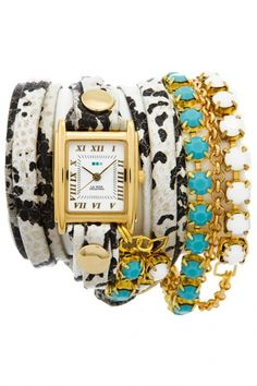 LMMULTI5003 - La Mer Collection Colette Crystal Chain Wrap dames horloge