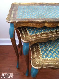 Florentine nesting tables. I am not a fan of nesting tables but these are lovely. DIY antiques makeover.