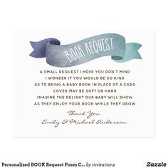 Personalized BOOK Request Poem Card Baby Shower