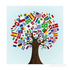 This is another poster I would put up in my classroom. I could also turn this into an activity where the class builds their own flag tree. School Displays, Classroom Displays, Classroom Themes, Spanish Classroom, Multicultural Classroom, Multicultural Activities, Diversity Activities, Art Activities, Around The World Theme