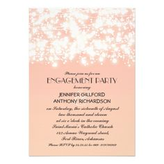 peach color string lights engagement party custom invitation