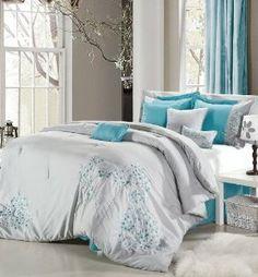 Amazon.com: Multiple Colors & Sizes - 8pc Luxury Bedding Set- P. Flor Gray/Turquoise - Queen Comforter Set: Bedding & Bath