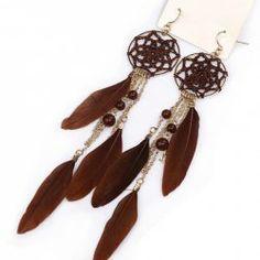 $3.69 Fantastique Boucles d'oreilles Pendantes Pour Femmes Gothique Forme de Plume