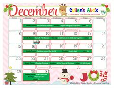 Use this December 2013 calendar with your child or classroom and follow along with the lesson plans on these themes in the DIY Online Preschool.  To help foster an excitement for learning be sure to print this out and hang it where children can see it and ask questions.  Feel free to contact us at CullensAbcs@gmail.com with any questions.