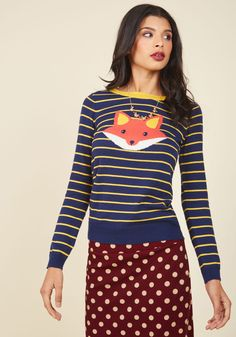 Face the Fox Sweater, @ModCloth
